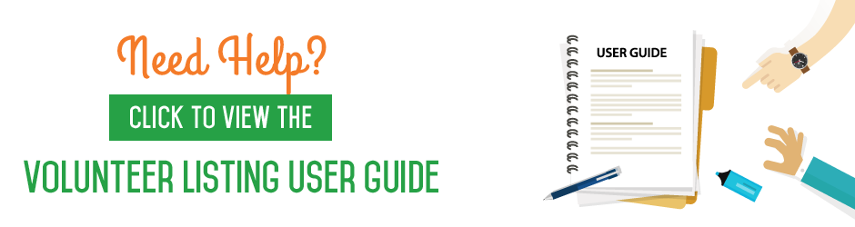 Volunteer listing user guide